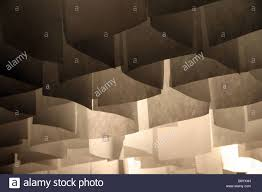 hanging grid sections paper lamp shades on ceiling lighting system