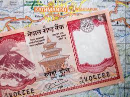 Map Note A Nepali Rupee Note On A Nepal Map Stock Photo Picture And