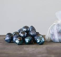 vintage blue mercury glass ornaments 1 embossed baubles