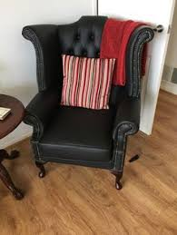 Queen Anne Wingback Chair Leather Chesterfield Queen Anne High Back Wing Chair Antique Green Leather