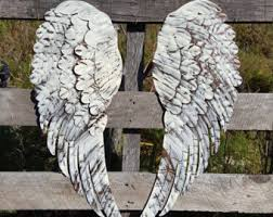 shabby chic metal angel wings wall decor rustic angel wings