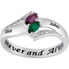 Ring With Name Engraved Personalized Sterling Silver Couples Heart Birthstone U0026 Name