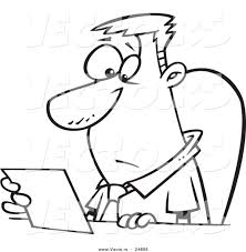 vector of a cartoon businessman seated at a desk and reading a