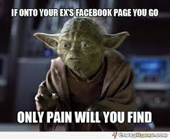 Funny Ex Girlfriend Memes - meme with yoda about the facebook profile of your ex girlfriend