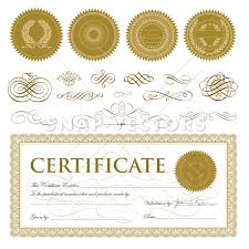 vector certificate set with gold seals and ornaments snap vectors