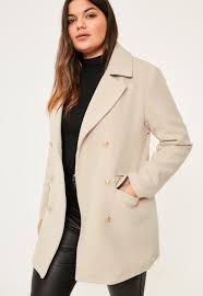 plus size short faux wool military coat missguided