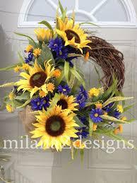 sunflower wreath sunflower door wreath country floral wreath grapevine