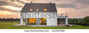 panoramic photo modern house outdoor indoor stock photo 441508093