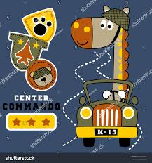 beach jeep clipart vector cartoon giraffe army driving military stock vector