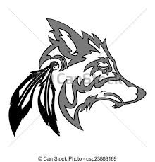 vector tribal wolf for design isolated on white