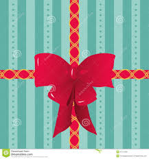 bow wrapping paper ribbons and bow on striped gift wrapping paper stock