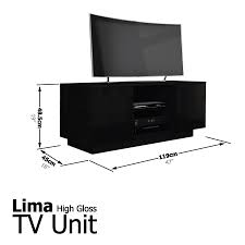 lima high gloss tv stand cabinet entertainment unit suitable up to