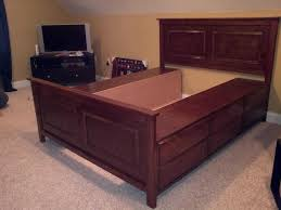 Bed Frame With Storage Plans Bed Frame Diy Bed Frame Queen Size Out Of A Dresser With Secret