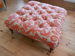 Coral Ottoman Reupholstered Vintage Ottoman With Brass Casters In Coral Khaki