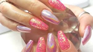 acrylic nails pink holo u0026 glitter nail design youtube