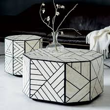 black and white side table bone inlay coffee table west elm