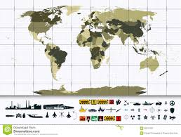 Detailed World Map Detailed World Map And Military Power Icon Set Stock Vector