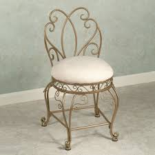 Repainting Wrought Iron Furniture by Gold Painted Wrought Iron Frame Vanity Chairs With White Velvet