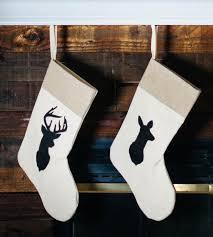 rustic chic doe and buck stockings set 2 silhouette deer