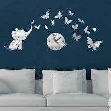 compare prices on elephant butterfly wall decals online shopping new 1set 3d diy elephant butterflies mirror wall decal wall clock sticker art decoration china