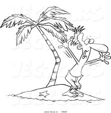 island coloring page vector of a cartoon stranded man screaming for help outlined