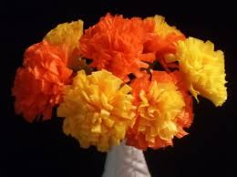 Yellow Orange Flowers - 12 marigolds crepe paper flowers day of the dead dia de los