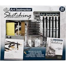 pro art 18 piece drawing set with graphite and charcoal pencils