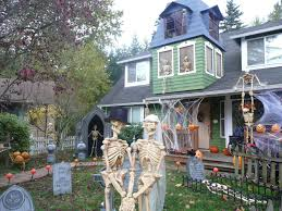 exteriors licious outdoor halloween decorating with skeleton and