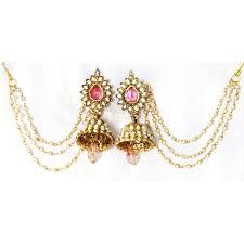 jhumka earrings with chain drop jhumka with pearl ear chain earring