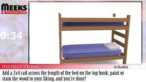 Dimensions Of Bunk Beds by Meek U0027s In Under A Minute 2x4 Bunkbed Youtube