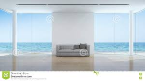 sea view living room interior in modern beach house stock