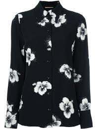 yves saint laurent yves st laurent saint laurent floral print saint laurent hibiscus print shirt women clothing yves saint laurent designer outlet store