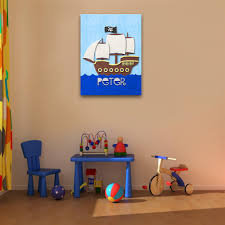 fuzzy felt kids name pirate ship personalised wall art canvas