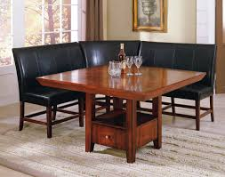 cherry dining room set black leather l shaped bench with back with varnished cherry