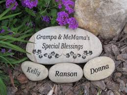 personalized garden stones engraved grandparent set medium multi river rock