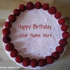 write name on strawberry border birthday cake with name