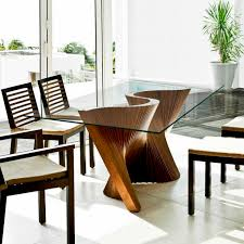 contemporary dining table walnut solid wood ash wave