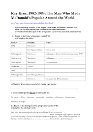 Fast Food Job Resume by Worksheet Ray Kroc By Voa