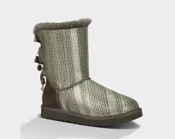 womens grey boots sale ugg bailey bow bling womens 1004791 metallic grey boots uk sale