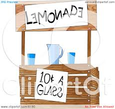funny lemonade stand operated by children clipart illustration by