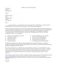 cover letter cover letter sample for internship cover letter