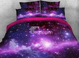 Galaxy Bed Set Onlwe 3d Galaxy Cluster Printed Cotton 4 Purple Bedding Sets