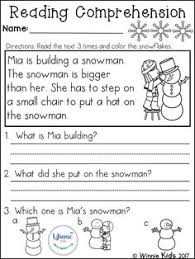 free reading comprehension is great for kindergarten or first