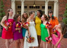 different color bridesmaid dresses to your wedding theme let