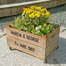 golden anniversary gifts personalised crate golden wedding anniversary by plantabox