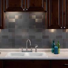 Aspect X Brushed Stainless Long Grain Metal Backsplash Tile - Metal backsplash