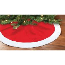 holiday time christmas decor red and white plush tree skirt