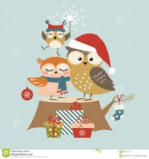 owl christmas christmas owl family stock vector image 59676773
