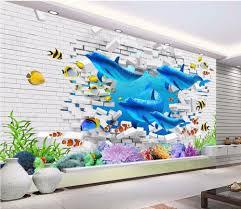 custom photo 3d wallpaper brick wall ocean dolphin painting wall