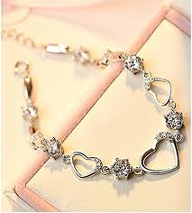 link bracelet with heart images Sterling silver bracelet women heart hand chain authentic crystal jpg